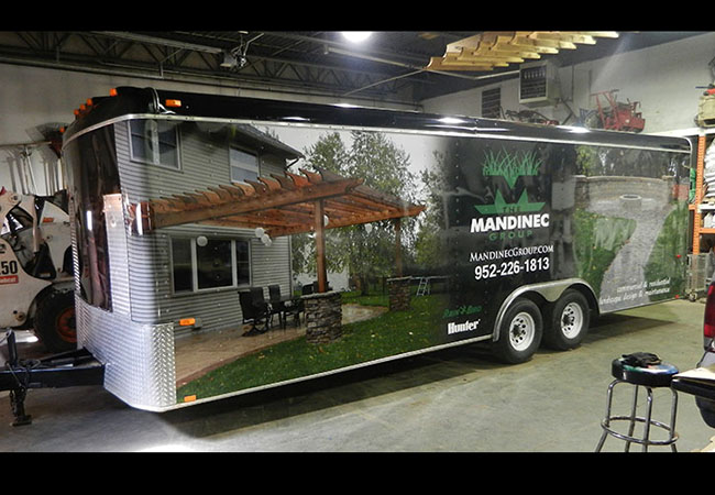 Mandinec Landscaping enclosed trailer